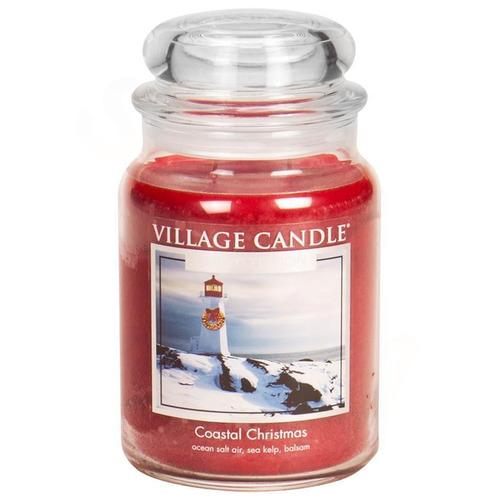 Village Candle Coastal Christmas 645g - velká vonná svíčka ve skle Vánoce v přístavu