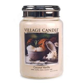 Village Candle Velká vonná svíčka ve skle Coconut Vanilla 645g - Kokos a vanilka