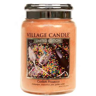 Village Candle Velká vonná svíčka ve skle Confetti Prosecco 645g - Konfety a Prosecco