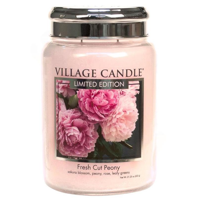 Village Candle Velká vonná svíčka ve skle Fresh Cut Peony 645g - Pivoňky