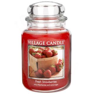 Village Candle Velká vonná svíčka ve skle Fresh Strawberries 645g - Čerstvé jahody