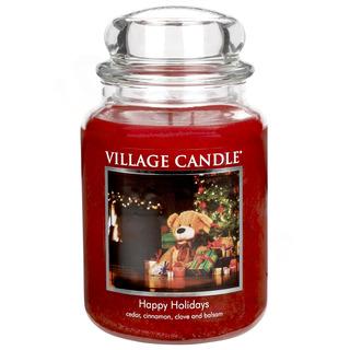 Village Candle Velká vonná svíčka ve skle Happy Holidays 645g - Šťastné Vánoce