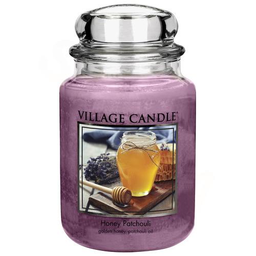 Village Candle Honey Patchouli 645g - velká vonná svíčka ve skle Med a pačuli