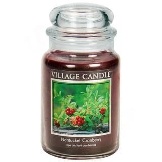 Village Candle Velká vonná svíčka ve skle Nantucked Cranberry 645g - Brusinka