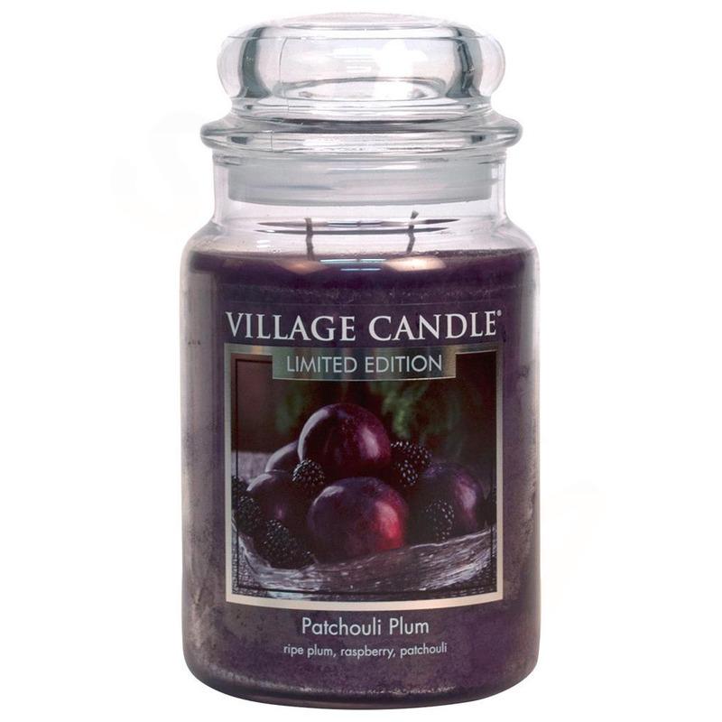 Village Candle Velká vonná svíčka ve skle Patchouli Plum 645g - Švestka a pačuli
