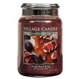 Village Candle Velká vonná svíčka ve skle Purple Basil and Fig 645g - Fialová bazalka a fík