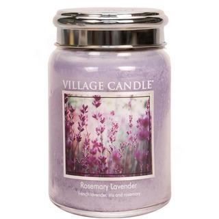Village Candle Velká vonná svíčka ve skle Rosemary Lavender 645g - Rozmarýn a levandule
