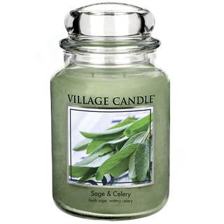 Village Candle Velká vonná svíčka ve skle Sage Celery 645g - Svěží šalvěj