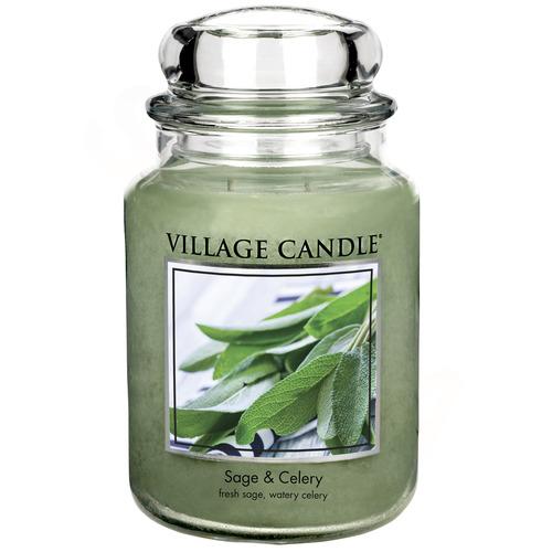 Village Candle Sage Celery 645g - velká vonná svíčka ve skle Svěží šalvěj