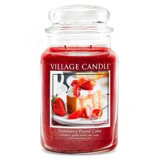 Village Candle Velká vonná svíčka ve skle Strawberry Pound Cake 645g - Jahodový koláč