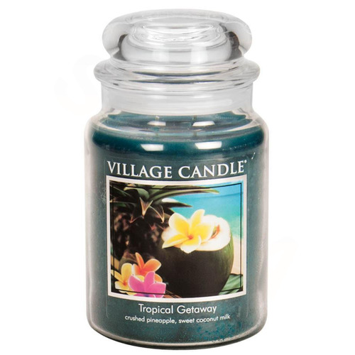 Village Candle Tropical Getaway 645g - velká vonná svíčka ve skle Víkend v tropech