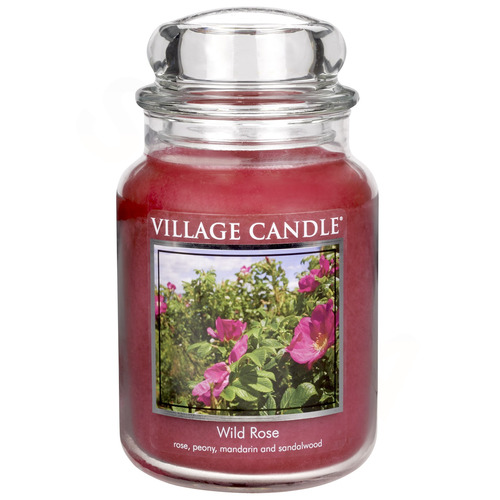 Village Candle WIld Rose 645g - velká vonná svíčka ve skle Divoká růže