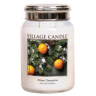 Village Candle Velká vonná svíčka ve skle Winter Clementine 645g - Sváteční mandarinka