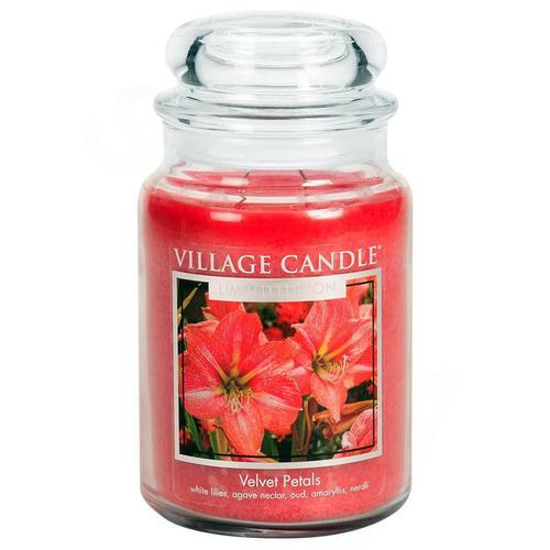 Village Candle Velvet Petals 645g - velká vonná svíčka ve skle Sametové květy