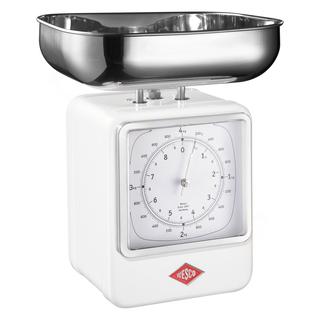 Wesco 322204-01 retro bílá kuchyňská váha s hodinami