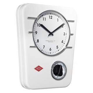 Wesco 322401-01 retro bílé závěsné hodiny s minutkou