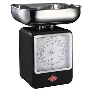 Wesco 322204-62 retro černá kuchyňská váha s hodinami