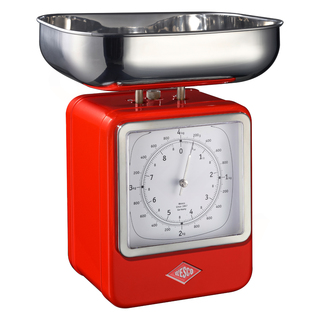 Wesco 322204-02 retro červená kuchyňská váha s hodinami