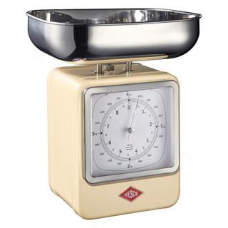 Wesco 322204-23 retro mandlová kuchyňská váha s hodinami