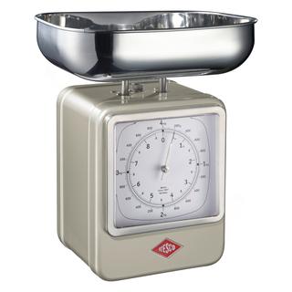 Wesco 322204-03 retro stříbrná kuchyňská váha s hodinami
